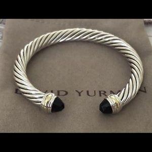 David Yurman 7mm Black Onyx & Gold Bracelet